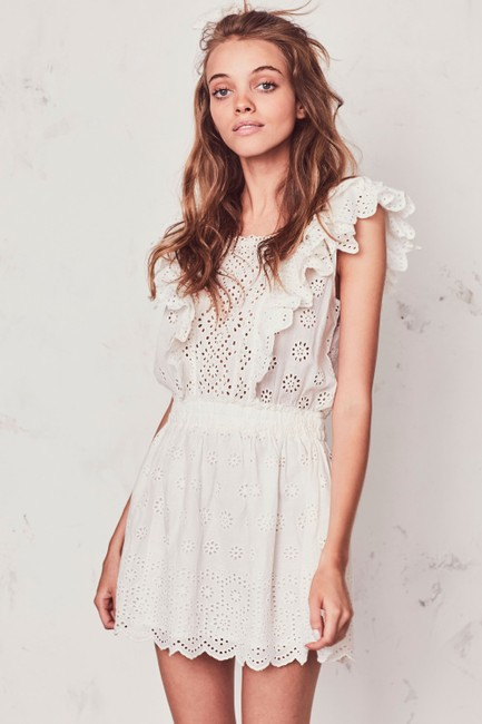 LoveShackFancy short dress Ivory Zara Mini Eyelet Ruffle on Tradesy Image 4