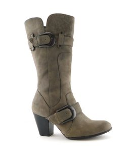 Crown by Børn Strap Round Toe Zipper Gray Boots