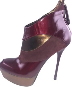 Gianmarco Lorenzi Patent Leather Suede Bronze Burgundy Boots