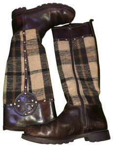 Tory Burch Plaid Leather Luxury Neutral MULTI/COCONUT Boots