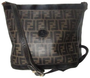 Fendi Mint Vintage Bucket/Cross Body Zucco/Large F Print Ctd Canvas/Leather Rare Early Satchel in shades of brown