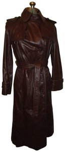 Etienne Aigner Vintage Leather Double Breasted Belted Oneam006 Trench Coat