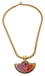 Frey Wille Floral Symphony Fire Enamel Gold Plated Half Moon Necklace