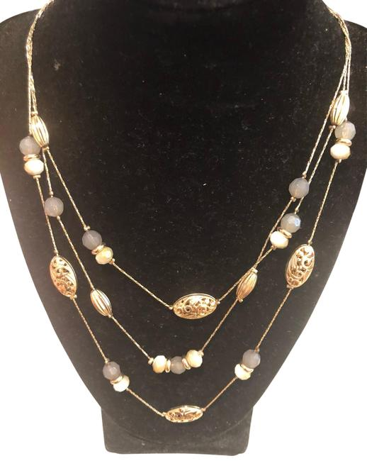 Item - Gold Layered with Blue Accent Necklace