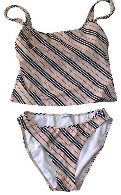 Item - Tan Stripe 2ps. with Built-in Tankini Size 8 (M)