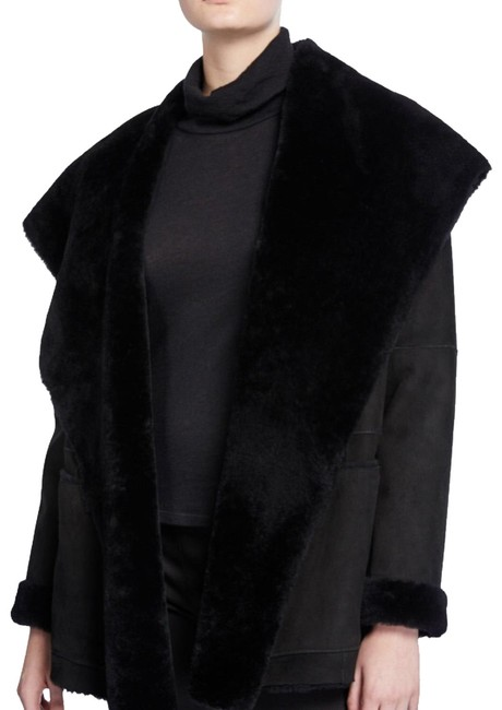 Item - Brown Chocolate Mocha Shearling Hooded Suede Open Cardigan Jacket Coat Size 2 (XS)