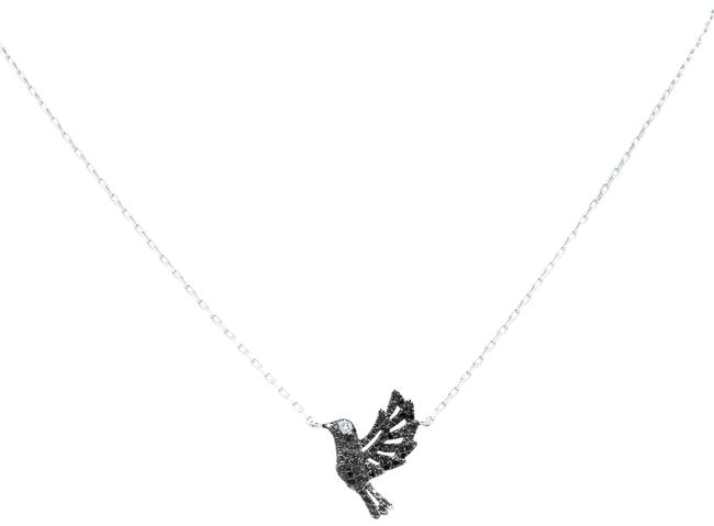 Rachel Koen 18k White Gold Petite Black Diamonds Bird Necklace Rachel Koen 18k White Gold Petite Black Diamonds Bird Necklace Image 1