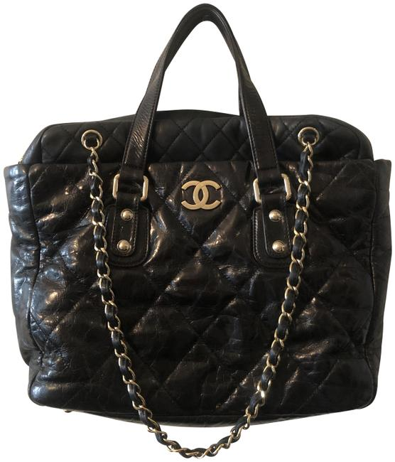 Chanel Flap Bag with Top Handle Portobello Glazed Calfskin Black Leather Tote Chanel Flap Bag with Top Handle Portobello Glazed Calfskin Black Leather Tote Image 1