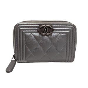 Chanel Chanel Grey Boy Quilted Leather Card Case Small Wallet