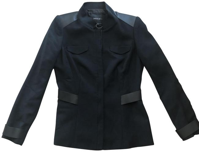 Preload https://img-static.tradesy.com/item/26164639/lafayette-148-new-york-black-edgy-leather-accent-blazer-size-4-s-0-1-650-650.jpg
