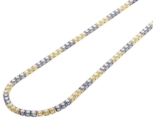 "Jewelry Unlimited 14k Multi-tone Gold Two-tone 10 Pointer Tennis Chain 4mm 22"" 13.69ct Necklace Jewelry Unlimited 14k Multi-tone Gold Two-tone 10 Pointer Tennis Chain 4mm 22"" 13.69ct Necklace Image 1"
