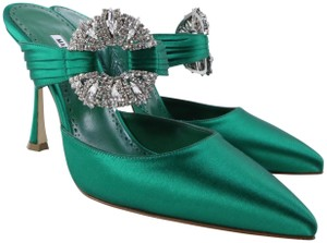 Manolo Blahnik Bradshaw Brooch Crystal Pumps Green Mules