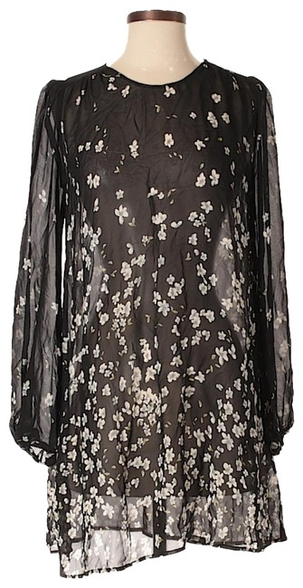 Reformation Black/Multi Sheer Floral Print Feminine Long Sleeve Xxs Short Casual Dress Size 00 (XXS) Reformation Black/Multi Sheer Floral Print Feminine Long Sleeve Xxs Short Casual Dress Size 00 (XXS) Image 1