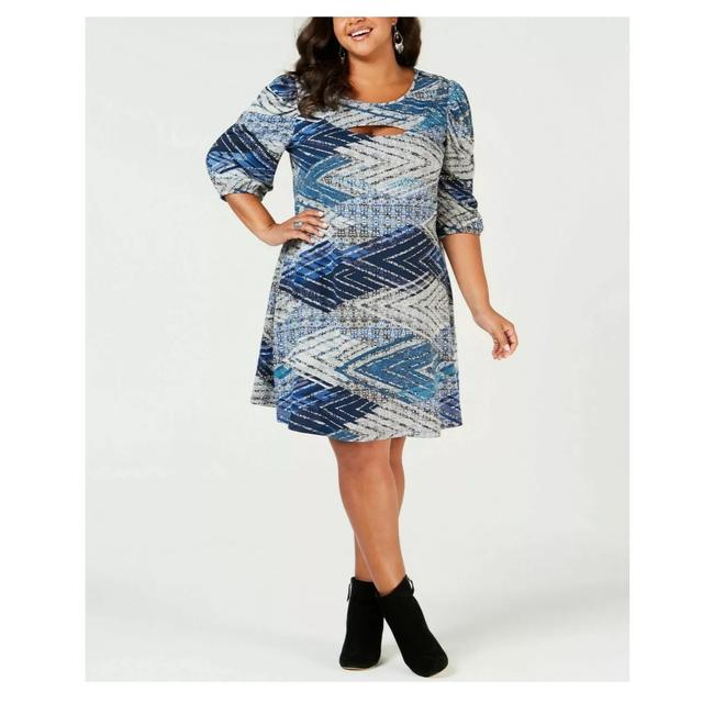 Preload https://img-static.tradesy.com/item/26165052/ny-collection-blue-printed-puff-sleeves-short-casual-dress-size-26-plus-3x-0-0-650-650.jpg