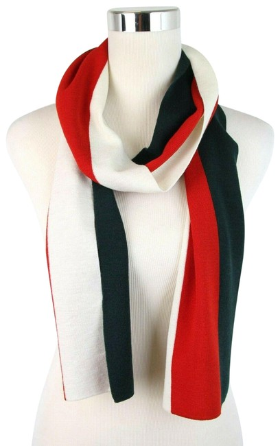 Gucci Green/Red/Beige Green/Red/Beige Wool Striped 444483 3077 Scarf/Wrap Gucci Green/Red/Beige Green/Red/Beige Wool Striped 444483 3077 Scarf/Wrap Image 1