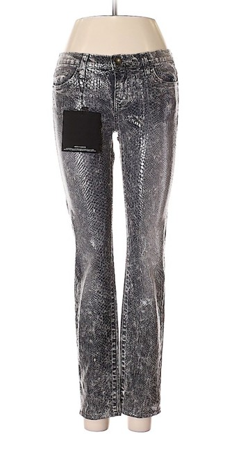 "Item - Grey/Silver Coated  ""The Ankle Snakeskin Black/Grey Embossed Skinny Jeans Size 26 (2, XS)"