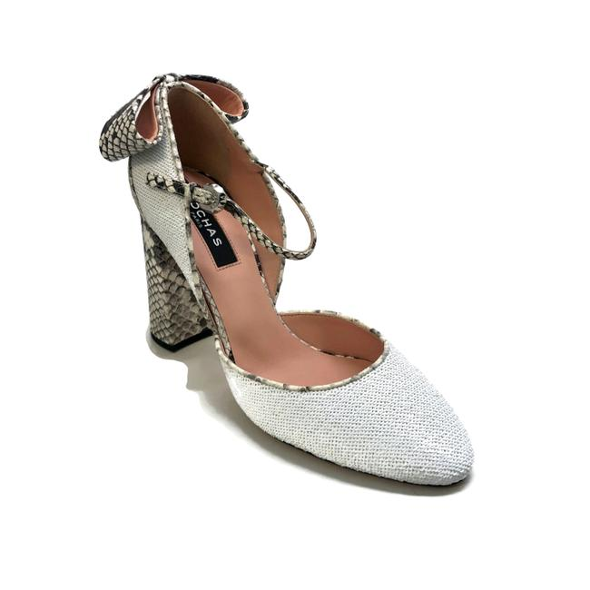 Rochas White Sequin and Snake Pumps Size EU 37.5 (Approx. US 7.5) Regular (M, B) Rochas White Sequin and Snake Pumps Size EU 37.5 (Approx. US 7.5) Regular (M, B) Image 1
