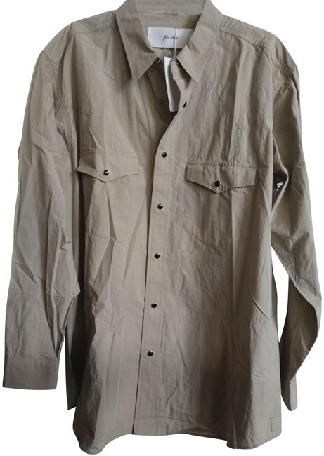 Item - Khaki XL Men's Made In Japan Shirt with Snaps Button-down Top Size 16 (XL, Plus 0x)