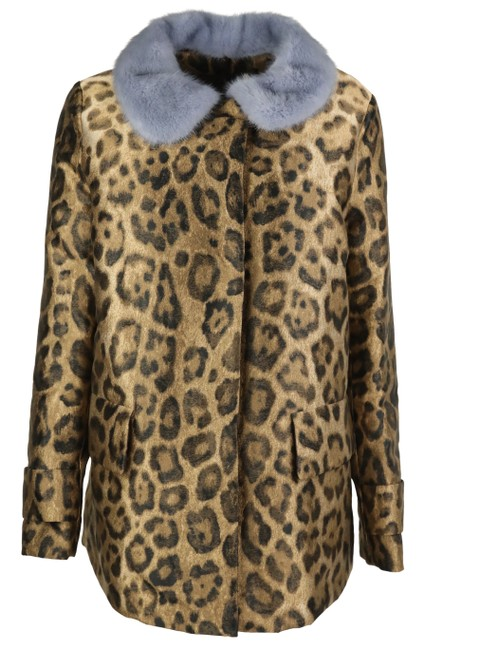 Item - Brown Leopard Printed Eucrante Down Coat with Removable Fur Collar