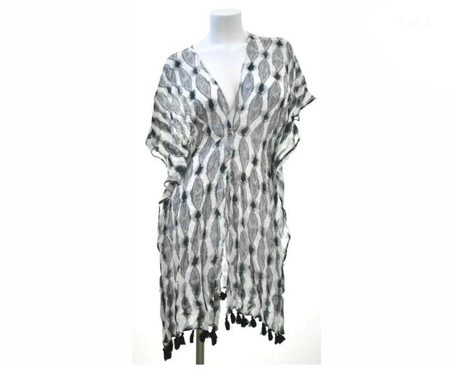 Item - Black/White Flowy Dye Wash with Tassels Cover-up/Sarong Size OS (one size)