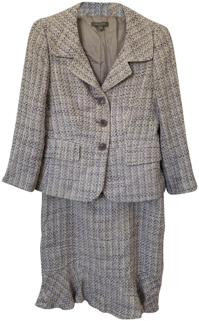 Item - Lavender and Purple Tweed Skirt Suit Size Petite 2 (XS)