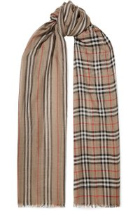 Burberry checked stripe wool silk scarf