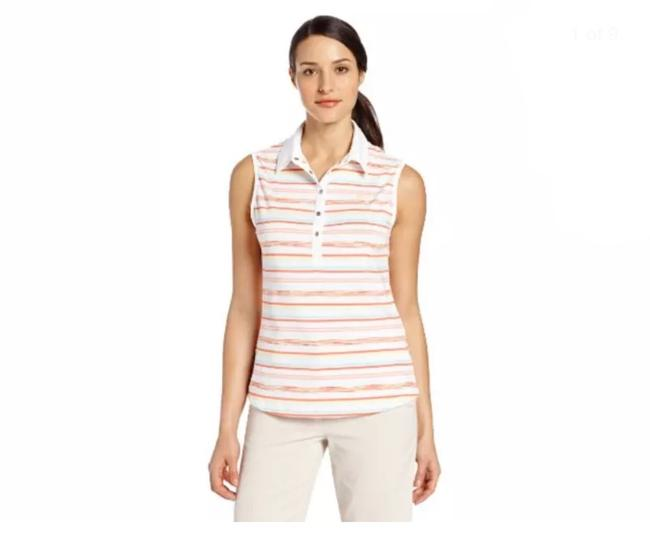 Item - Orange Multi Golf Women's Sleeveless Space Stripe Polo Shirt White Medium Activewear Top Size 10 (M)
