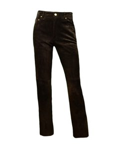Hermès Suede Leather Trouser Pants Brown