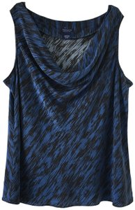 Doncaster And Black Drape Neck Silk Sleeveless Size 24 W Top Blue