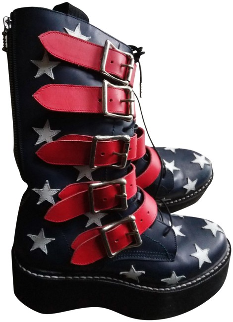 Item - Multiple Flag Colors Buckled Leather Boots/Booties Size EU 40 (Approx. US 10) Regular (M, B)