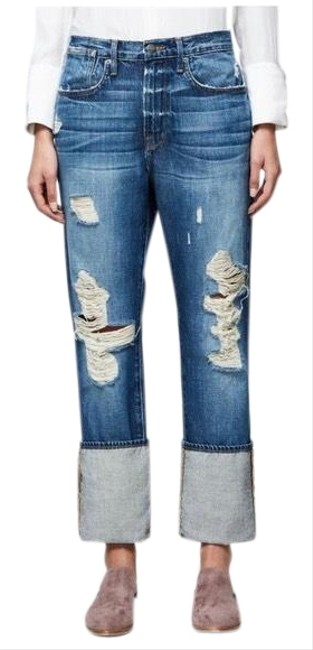 FRAME Blue Distressed Oversized Cuffed Ripped Boyfriend Cut Jeans Size 4 (S, 27) FRAME Blue Distressed Oversized Cuffed Ripped Boyfriend Cut Jeans Size 4 (S, 27) Image 1