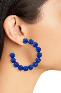 Lele Sadoughi Set of 2 Pairs -Lele Sadoughi Blue E921 Stardust Crystal Hoop Earrings