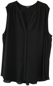 NYDJ V-neck Button Front Pin-tuck Detail Size 3x Top Black