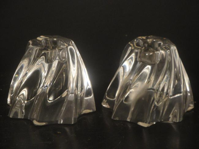 Item - Clear France Holders Swirl Crystal Taper Holders Pair Votive/Candle