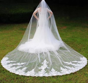 Long White Or Ivory High Quality 4m Lace One Layer with Comb Bridal Veil