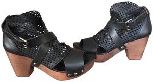 Free People Studded Perforated Strappy Black Mules