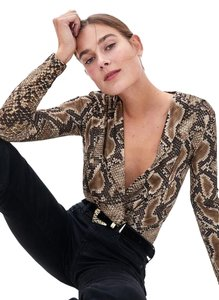 Zara Animal Print Crossover Bodysuit Top