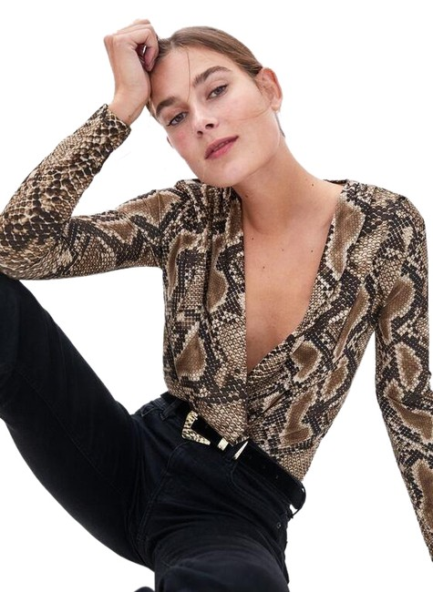 Zara Animal Print Crossover Bodysuit Top Image 0