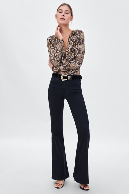 Zara Animal Print Crossover Bodysuit Top Image 1