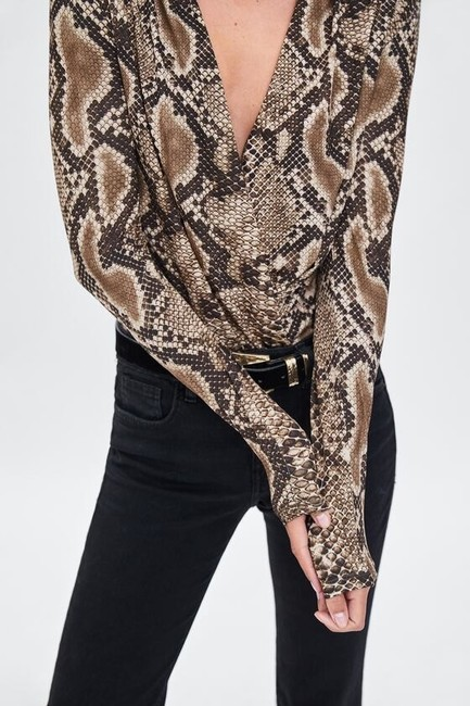 Zara Animal Print Crossover Bodysuit Top Image 2