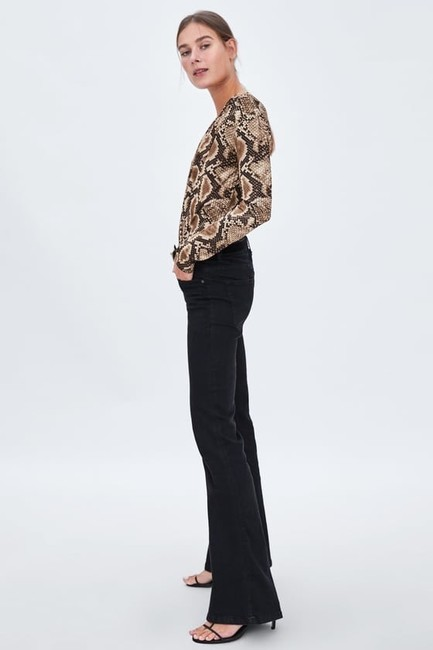 Zara Animal Print Crossover Bodysuit Top Image 3