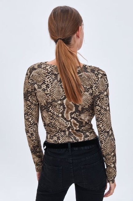 Zara Animal Print Crossover Bodysuit Top Image 4