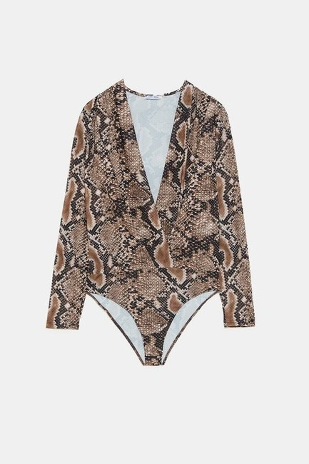 Zara Animal Print Crossover Bodysuit Top Image 7