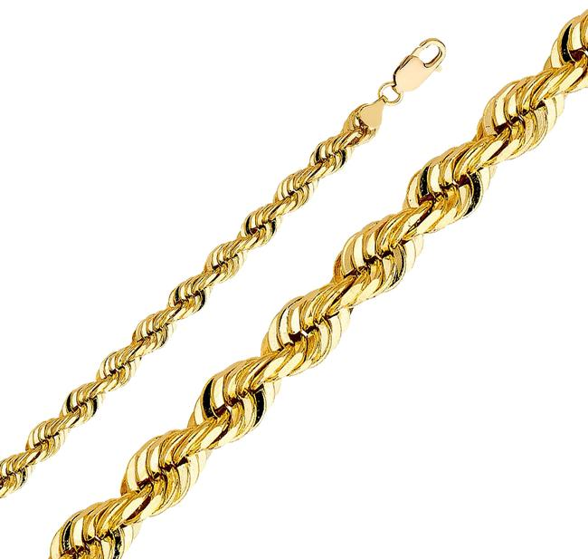 "Item - Yellow 14k 8mm Solid Rope Cut Chain- 24"" Necklace"