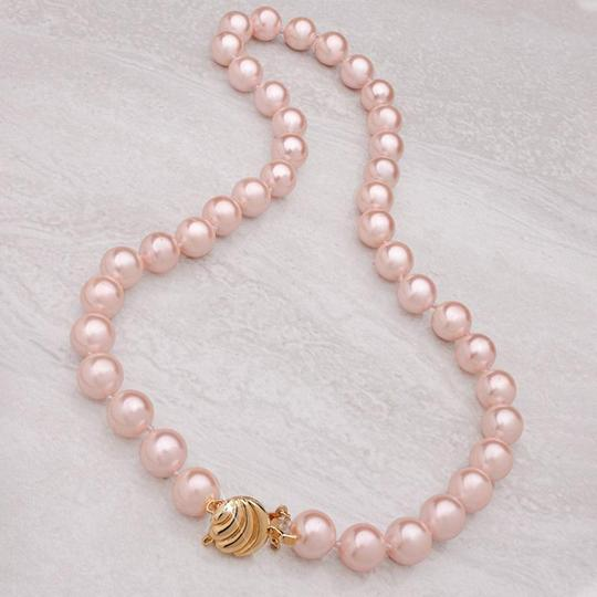 Modern Vintage Estate Vintage Pearl Set, Necklace, Earrings, Bracelet, Pink Image 2