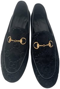 Gucci Leather Sole Leather Lining Made In Italy Gg Monogram Black Velvet Flats
