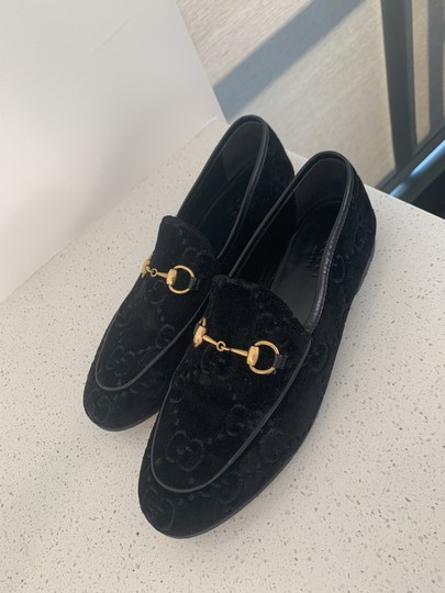 Gucci Leather Sole Leather Lining Made In Italy Gg Monogram Black Velvet Flats Image 1