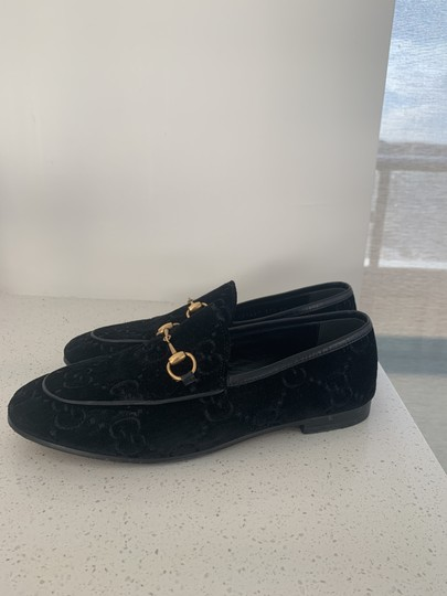 Gucci Leather Sole Leather Lining Made In Italy Gg Monogram Black Velvet Flats Image 2
