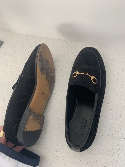 Gucci Leather Sole Leather Lining Made In Italy Gg Monogram Black Velvet Flats Image 4