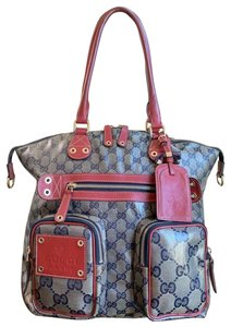 Gucci Gg Crystal Leather Voyager Tote in Red, Blue